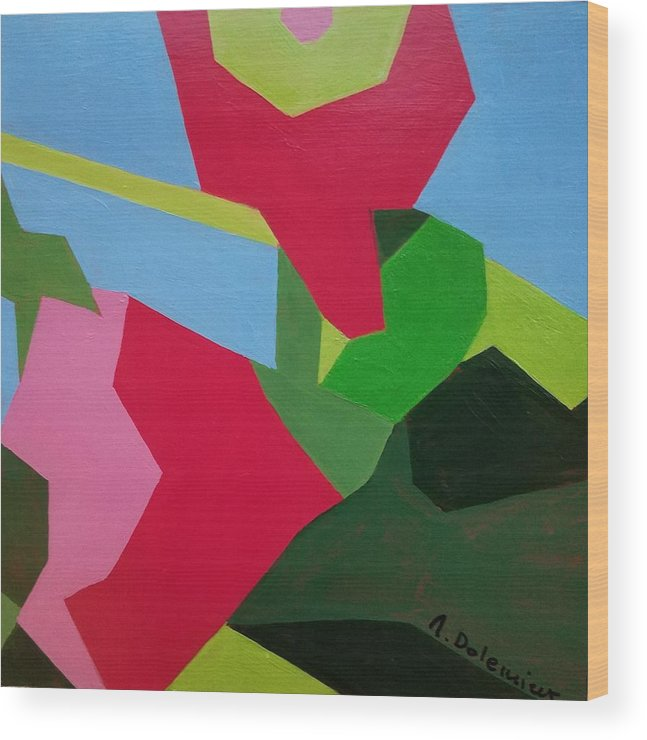 Abstract Wood Print featuring the painting Rose Tremiere by Muriel Dolemieux