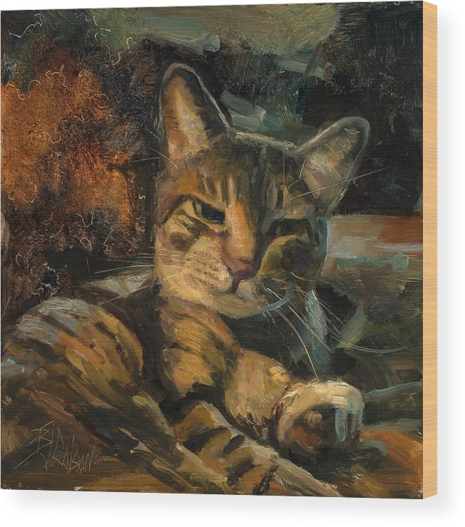 Cats Wood Print featuring the painting Tabby Nap by Billie Colson