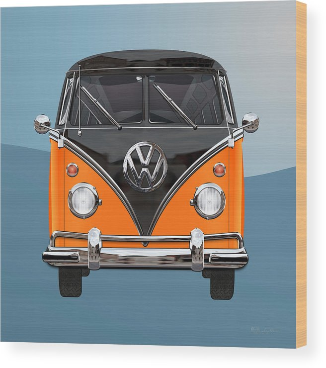 'volkswagen Type 2' Collection By Serge Averbukh Wood Print featuring the photograph Volkswagen Type 2 - Black and Orange Volkswagen T 1 Samba Bus over Blue by Serge Averbukh