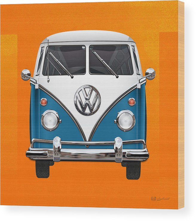 'volkswagen Type 2' Collection By Serge Averbukh Wood Print featuring the photograph Volkswagen Type 2 - Blue and White Volkswagen T 1 Samba Bus over Orange Canvas by Serge Averbukh