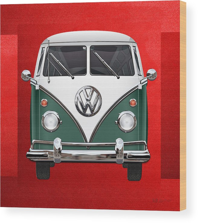 'volkswagen Type 2' Collection By Serge Averbukh Wood Print featuring the photograph Volkswagen Type 2 - Green and White Volkswagen T 1 Samba Bus over Red Canvas by Serge Averbukh