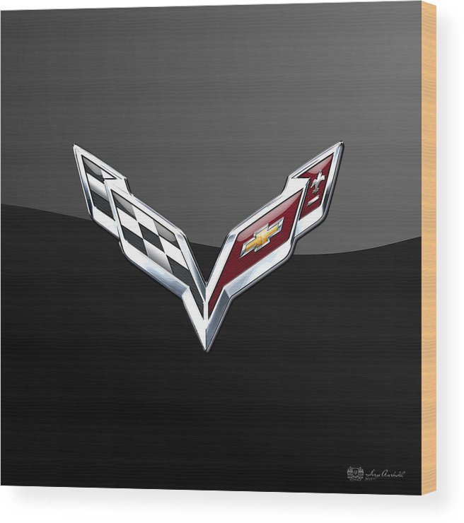 �wheels Of Fortune� Collection By Serge Averbukh Wood Print featuring the photograph Chevrolet Corvette 3D Badge on Black by Serge Averbukh