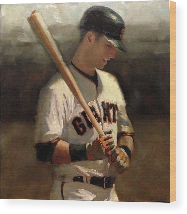 Buster Posey Wood Print featuring the painting Untitled 2 by Darren Kerr