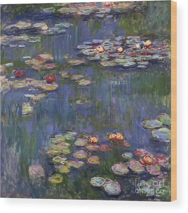 Monet Wood Print featuring the painting Water Lilies, 1916 by Claude Monet