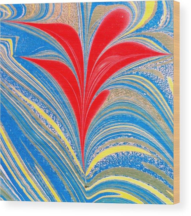 Flower Wood Print featuring the painting Water Marbling Art, Ebru by Dilan C