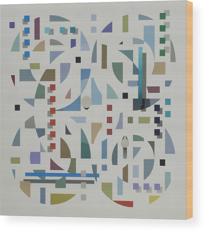 Abstract Geometirc Optical Illusion Painting Wood Print featuring the painting Untitled 6 by Marston A Jaquis
