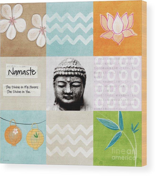 Buddha Wood Print featuring the painting Namaste by Linda Woods