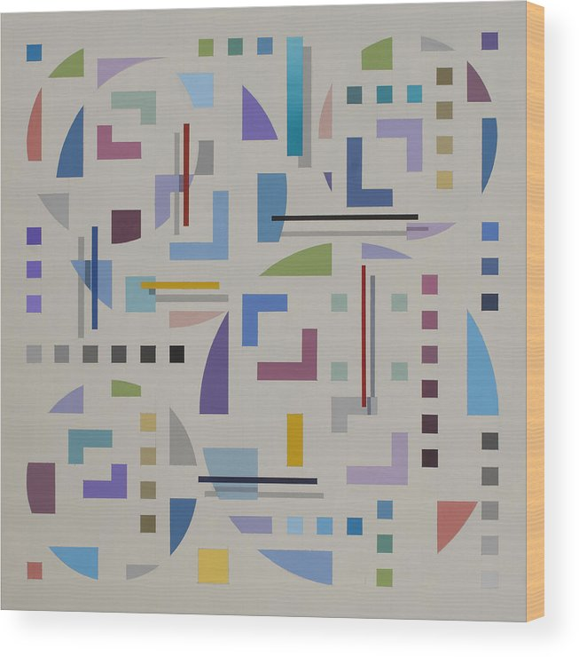 Optical Illusion Geometric Painting Wood Print featuring the painting Untitled 8 by Marston A Jaquis