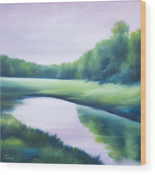 Nature; Lake; Sunset; Sunrise; Serene; Forest; Trees; Water; Ripples; Clearing; Lagoon; James Christopher Hill; Jameshillgallery.com; Foliage; Sky; Realism; Oils; Green; Tree; Blue; Pink; Pond; Lake Wood Print featuring the painting A Day In The Life 1 by James Christopher Hill