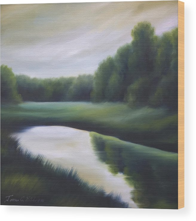 Nature; Lake; Sunset; Sunrise; Serene; Forest; Trees; Water; Ripples; Clearing; Lagoon; James Christopher Hill; Jameshillgallery.com; Foliage; Sky; Realism; Oils; Green; Tree Wood Print featuring the painting A Day In The Life 3 by James Christopher Hill