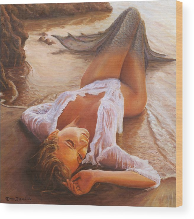 Mermaid Siren Sensual Sunset Sea Water Lady Sexy Wood Print featuring the painting A Mermaid In The Sunset - Love Is Seduction by Marco Busoni