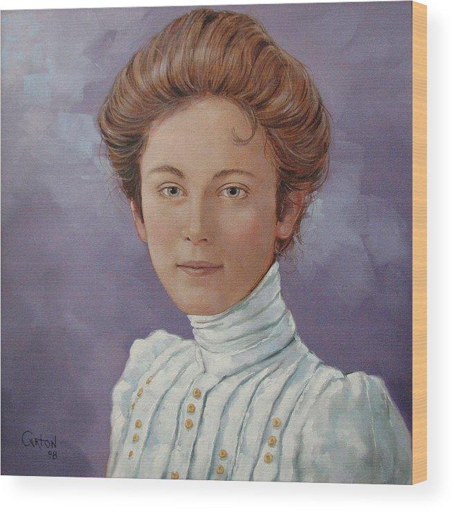 Posthumous Portrait Wood Print featuring the painting Ada Douglas by Jerrold Carton
