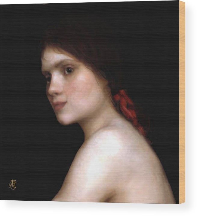 Portrait Of A Young Woman. Wood Print featuring the digital art Angela's Ribbon by John Helgeson