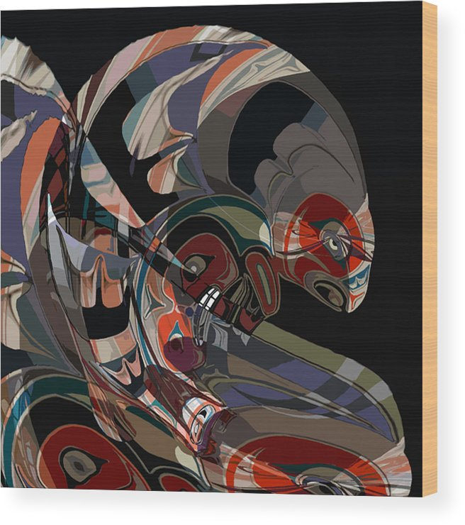 Northwest Native American Wood Print featuring the digital art Angler for Lunch by John Helgeson