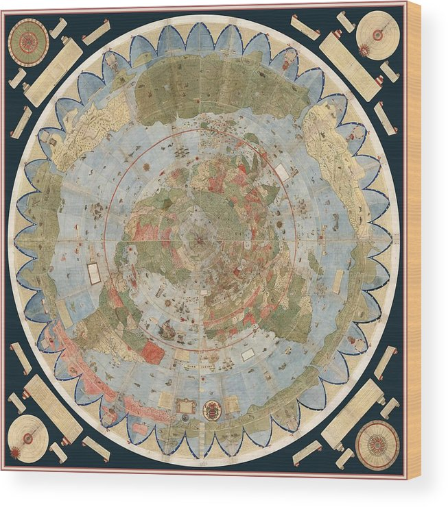 Flat Earth Map Wood Print featuring the drawing Antique Maps - Old Cartographic maps - Flat Earth Map - Map of the World by Studio Grafiikka