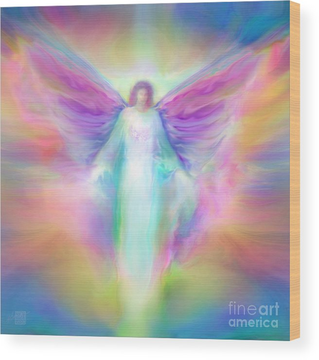 Angel Paintings Wood Print featuring the painting Archangel Raphael Healing by Glenyss Bourne