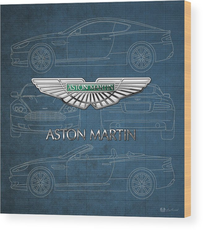 Wheels Of Fortune By Serge Averbukh Wood Print featuring the photograph Aston Martin 3 D Badge over Aston Martin D B 9 Blueprint by Serge Averbukh