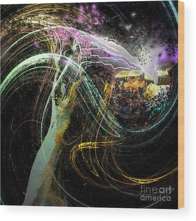 Fantasy Wood Print featuring the painting At The End of The Cosmos by Miki De Goodaboom
