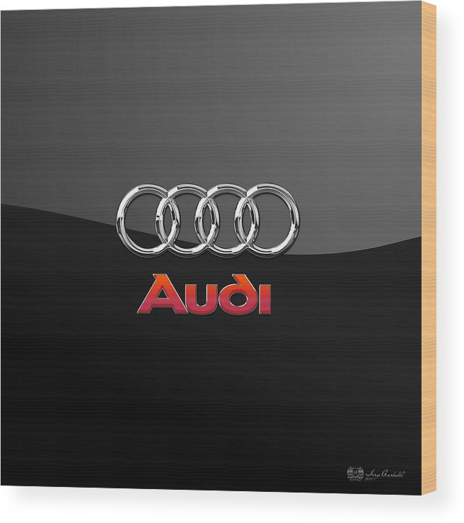 'wheels Of Fortune' Collection By Serge Averbukh Wood Print featuring the photograph Audi 3 D Badge on Black by Serge Averbukh