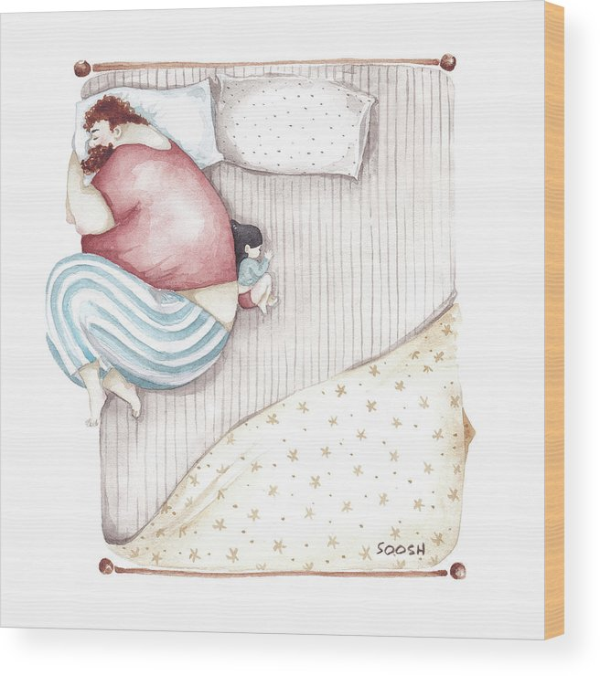 Illustration Wood Print featuring the painting Bed. King size. by Soosh