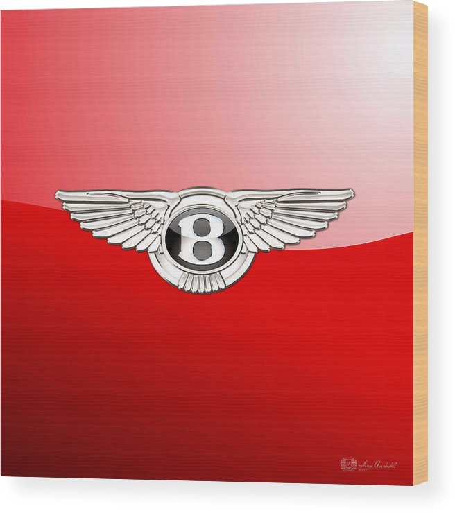 Wheels Of Fortune� Collection By Serge Averbukh Wood Print featuring the photograph Bentley 3 D Badge on Red by Serge Averbukh