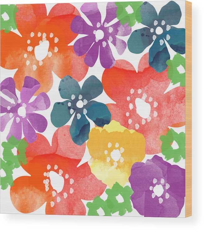 Flowers Wood Print featuring the painting Big Bright Flowers by Linda Woods