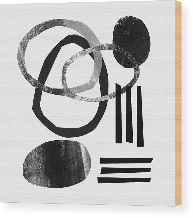 Black And White Abstract Wood Print featuring the mixed media Black and White- Abstract Art by Linda Woods