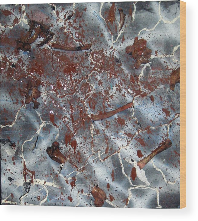 Abstract Wood Print featuring the painting Bleeding Bones by Leigh Odom