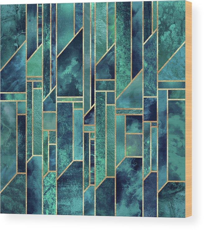 Graphic Wood Print featuring the digital art Blue Skies by Elisabeth Fredriksson