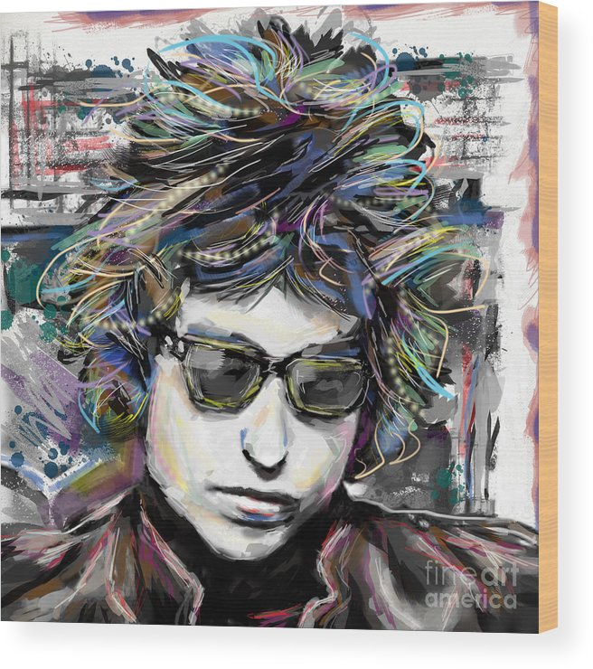 Bob Dylan Wood Print featuring the mixed media Bob Dylan Art by Ryan Rock Artist
