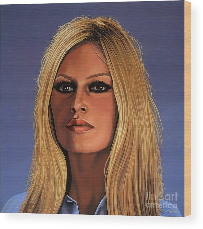 Brigitte Bardot Wood Print featuring the painting Brigitte Bardot Painting 3 by Paul Meijering