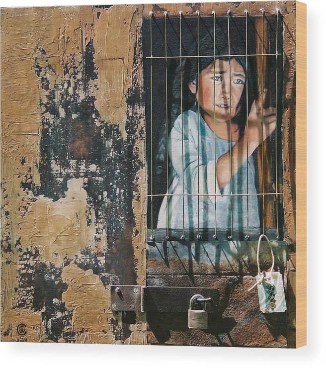 Asian Girl Wood Print featuring the painting Captive by Teresa Carter