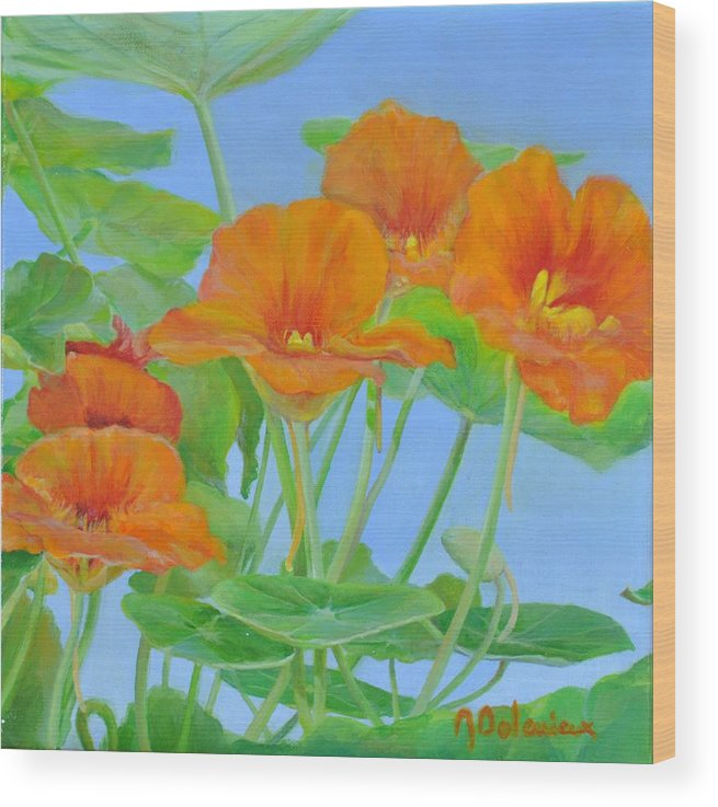 Floral Painting Wood Print featuring the painting Capucines by Muriel Dolemieux