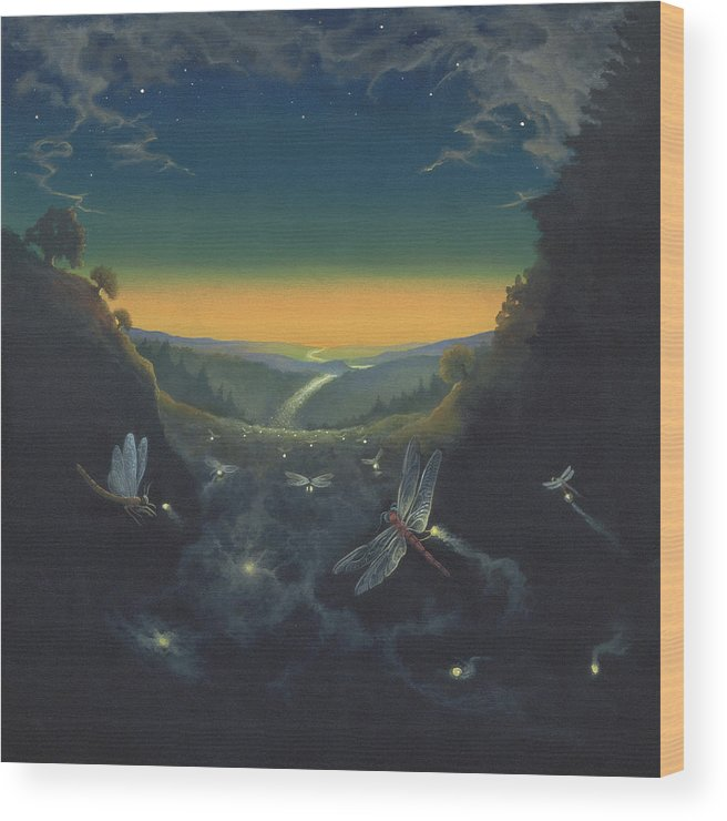 Dragonfly Wood Print featuring the print Carry the Light 1 by Boris Koodrin