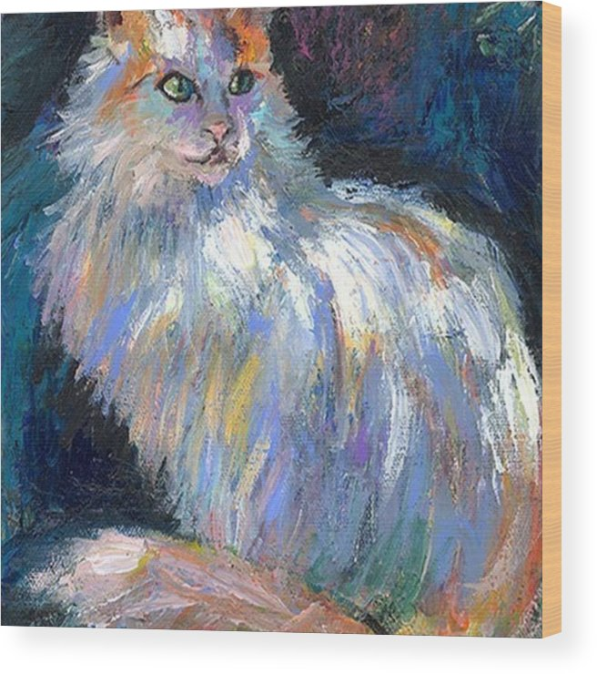 Art Wood Print featuring the photograph Cat In A Sun Painting By Svetlana by Svetlana Novikova