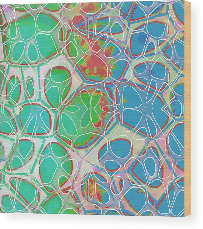 Painting Wood Print featuring the painting Cell Abstract 10 by Edward Fielding