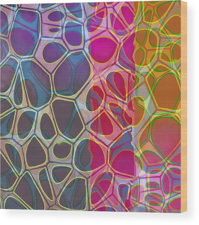 Painting Wood Print featuring the painting Cell Abstract 11 by Edward Fielding
