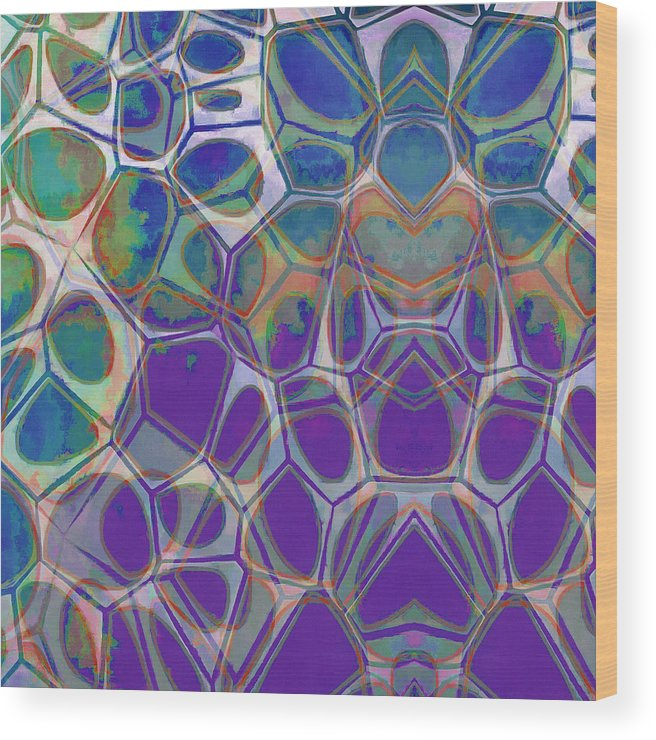 Painting Wood Print featuring the painting Cell Abstract 17 by Edward Fielding