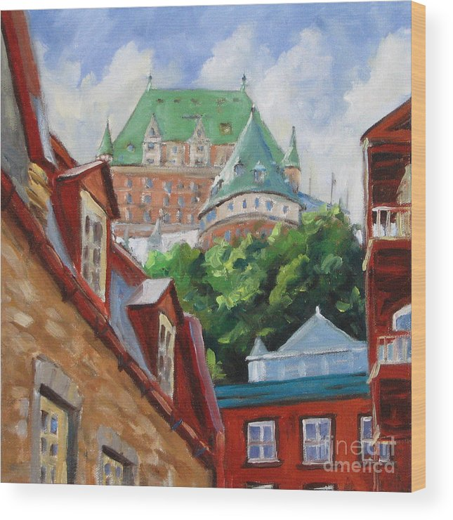 Chateau Frontenac Wood Print featuring the painting Chateau Frontenac by Richard T Pranke