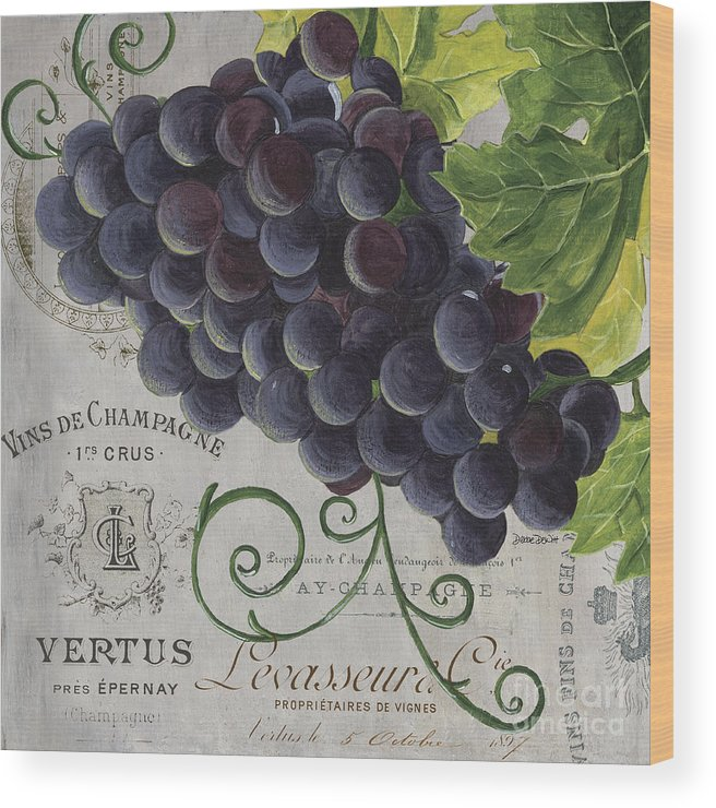 Grapes Wood Print featuring the painting Vins de Champagne 2 by Debbie DeWitt