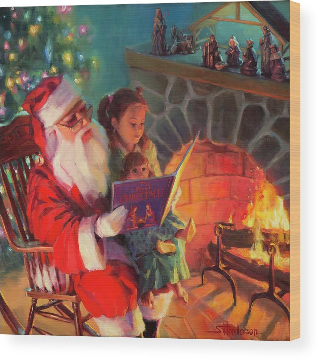 Christmas Wood Print featuring the painting Christmas Story by Steve Henderson