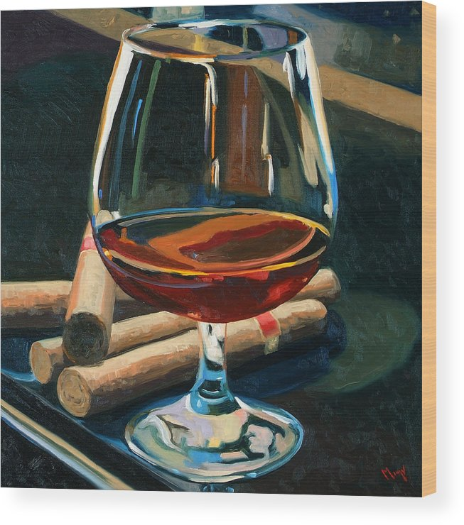 Hampden-sydney College Wood Print featuring the painting Cigars and Brandy by Christopher Mize