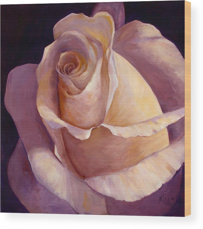 White Rose Wood Print featuring the painting Close to Perfection by Billie Colson
