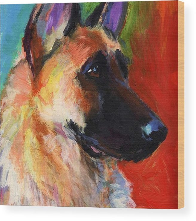 Impressionism Wood Print featuring the photograph Colorful German Shepherd Painting By by Svetlana Novikova
