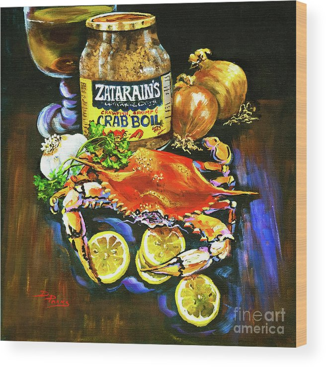 New Orleans Wood Print featuring the painting Crab Fixin's by Dianne Parks