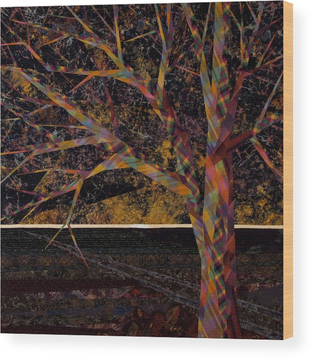 Landscape Wood Print featuring the tapestry - textile Dawn by Linda Beach
