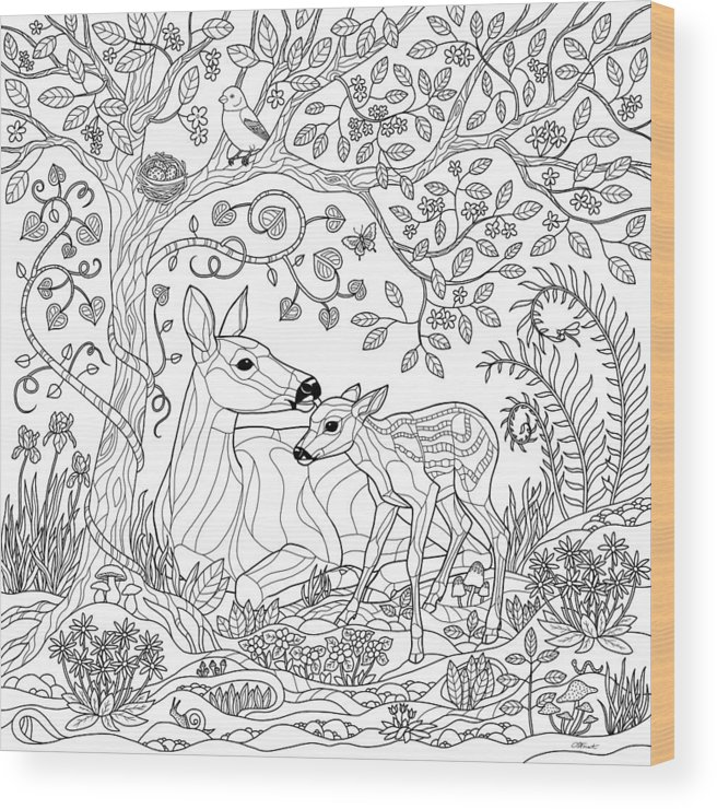 Deer Fantasy Forest Coloring Page Wood Print By Crista Forest