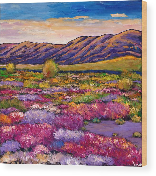 Arizona Wood Print featuring the painting Desert in Bloom by Johnathan Harris