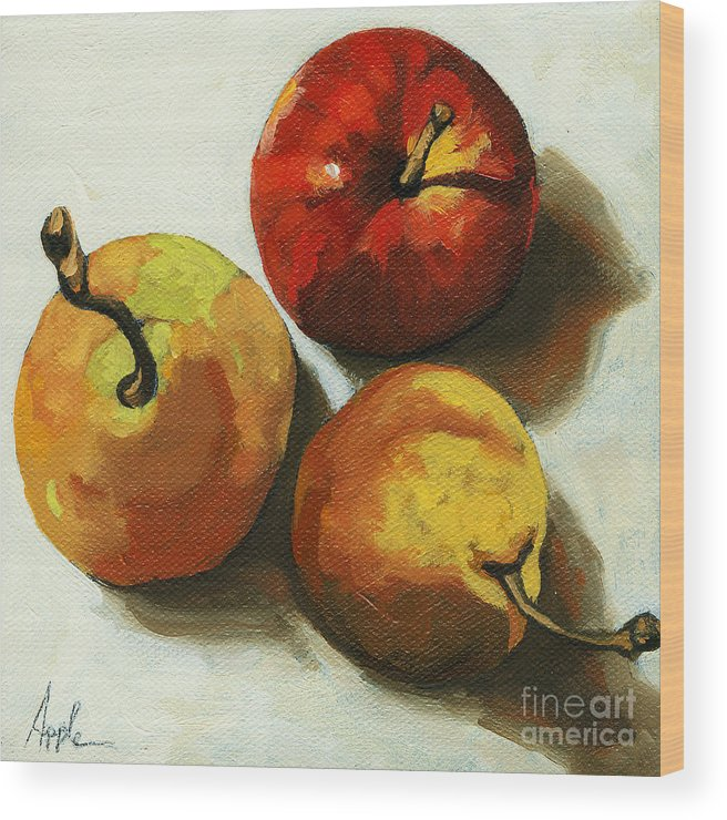 Fruit Wood Print featuring the painting Down on Fruit - pears and apple still life by Linda Apple
