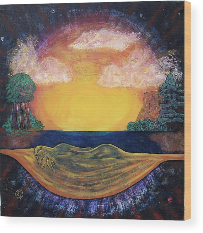 Sunset Golden Goddess Glowing Ocean Horizon Wood Print featuring the painting Dreaming Goddess by Eric Singleton